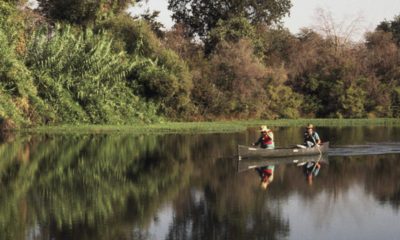 Photo of two canoes on the San Joaquin River near Fresno