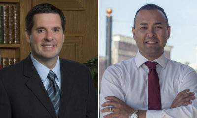 Combined photo board of Rep. Devin Nunes, left, and challenger Andrew Janz