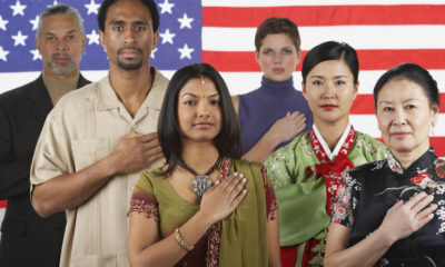 Composite photo immigrants in front of an American flag