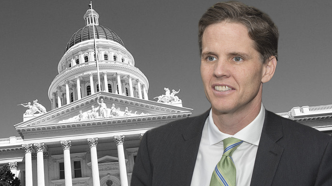 Photo illustration of Marshall Tuck in front of California state Capitol