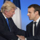 Image of President Donald Trump and French President Emmanuel Macron shaking hands.