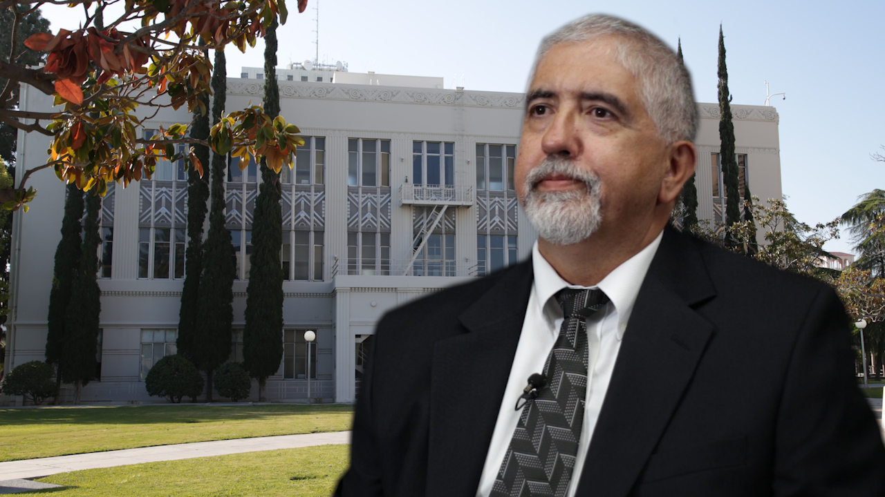 Photo illustration of Oscar Garcia and Fresno County Hall of Records