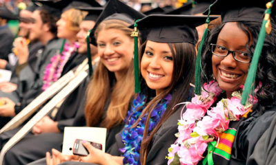 Fresno State graduates at commencement ceremony.
