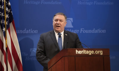 Secretary of State Mike Pompeo speaks at the Heritage Foundation.
