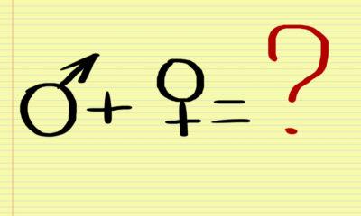 Symbol of man plus woman equals question mark.