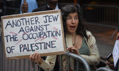 Picture of a Jewish protester in New York City who opposes Israeli occupation of Palestine