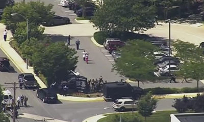 Screen grab of video showing scene at Annapolis, Maryland, newspaper shooting