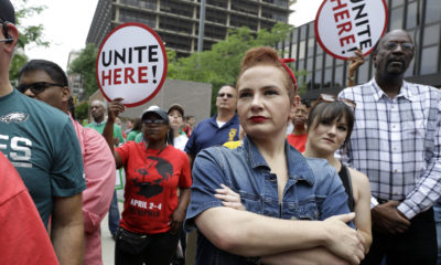 AP Photo of people protesting the Janus decision{