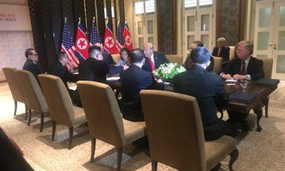 Photo of meeting between President Donald Trump and North Korea's Kim Jong Un