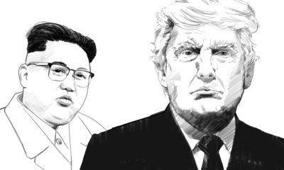Portrait drawings of North Korea's Kim Jong Un and President Donald Trump