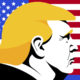 Illustration of President Donald Trump superimposed over U.S. flag illustration.