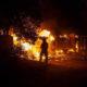 Photo of firefighter battling the Carr Fire in Redding, California