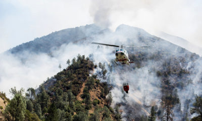 Photo of helicopter fighting Ferguson Fire