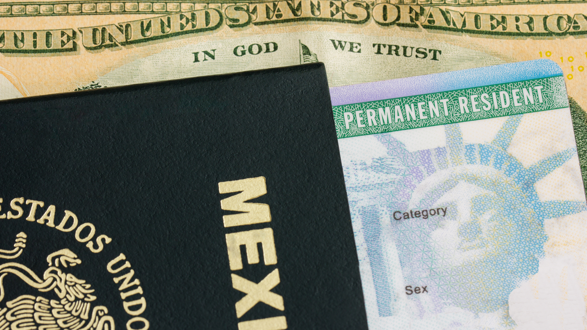 Photo of passport, green card and American money