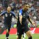 Photo of French soccer star Kylian Mbappe celebrating his goal.