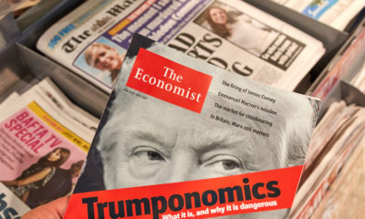 Photo of newstand with a magazine featuring Donald Trump on the cover