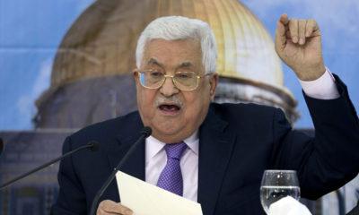 Palestinian Authority President Mahmoud Abbas at headquarters in Ramallah