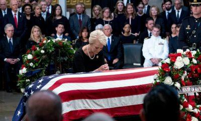 Photo of Cindy McCain and Sen. John McCain's casket