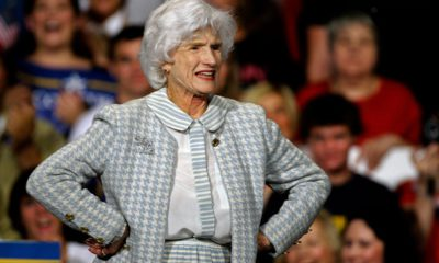 Photo of Roberta McCain during a rally in Downingtown, PA