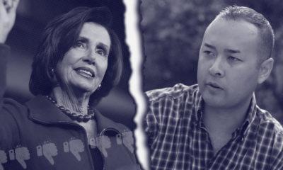 Photo combo of Nancy Pelosi and Andrew Janz