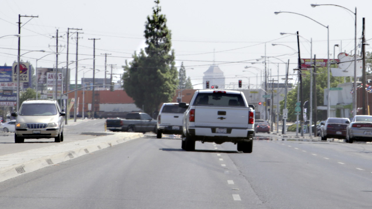 Traffic on Blackstone Avenue with Downtown Fresno in Distance