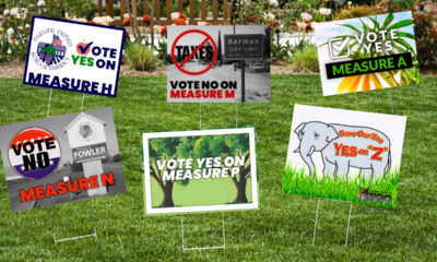 Graphic of faux ballot measure signs in yard