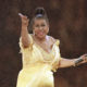 Photo of Aretha Franklin thanking the crowd