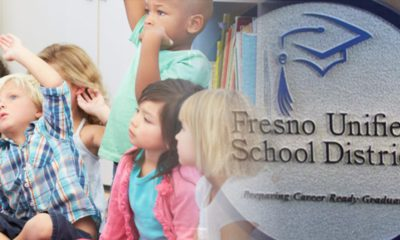 Photo of Fresno Unified logo and young students