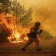 Photo of a running California firefighter