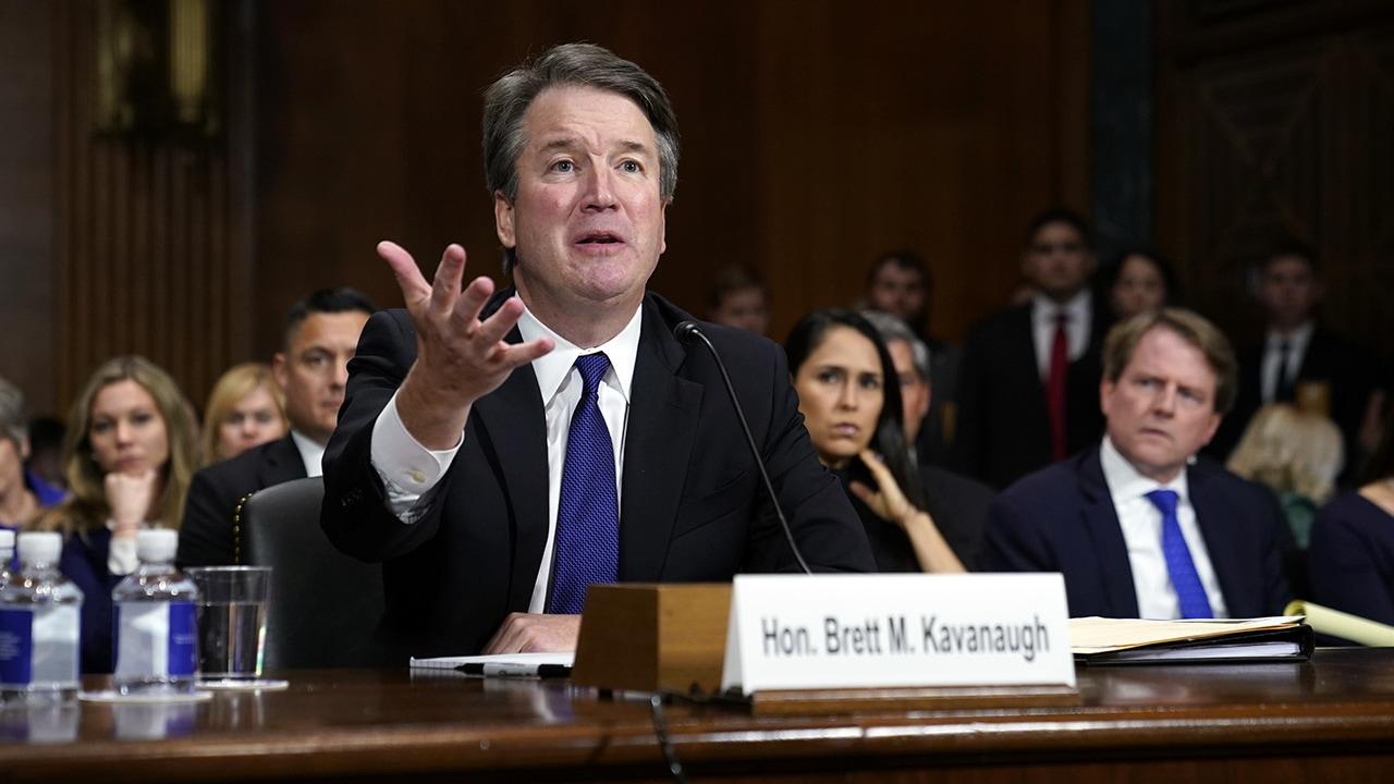 Photo of Brett Kavanaugh crying at his hearing