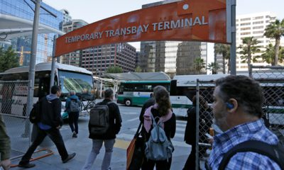 Photo of commuters making their way into the Temporary Transbay Terminal after the Salesforce Transit Center was closed