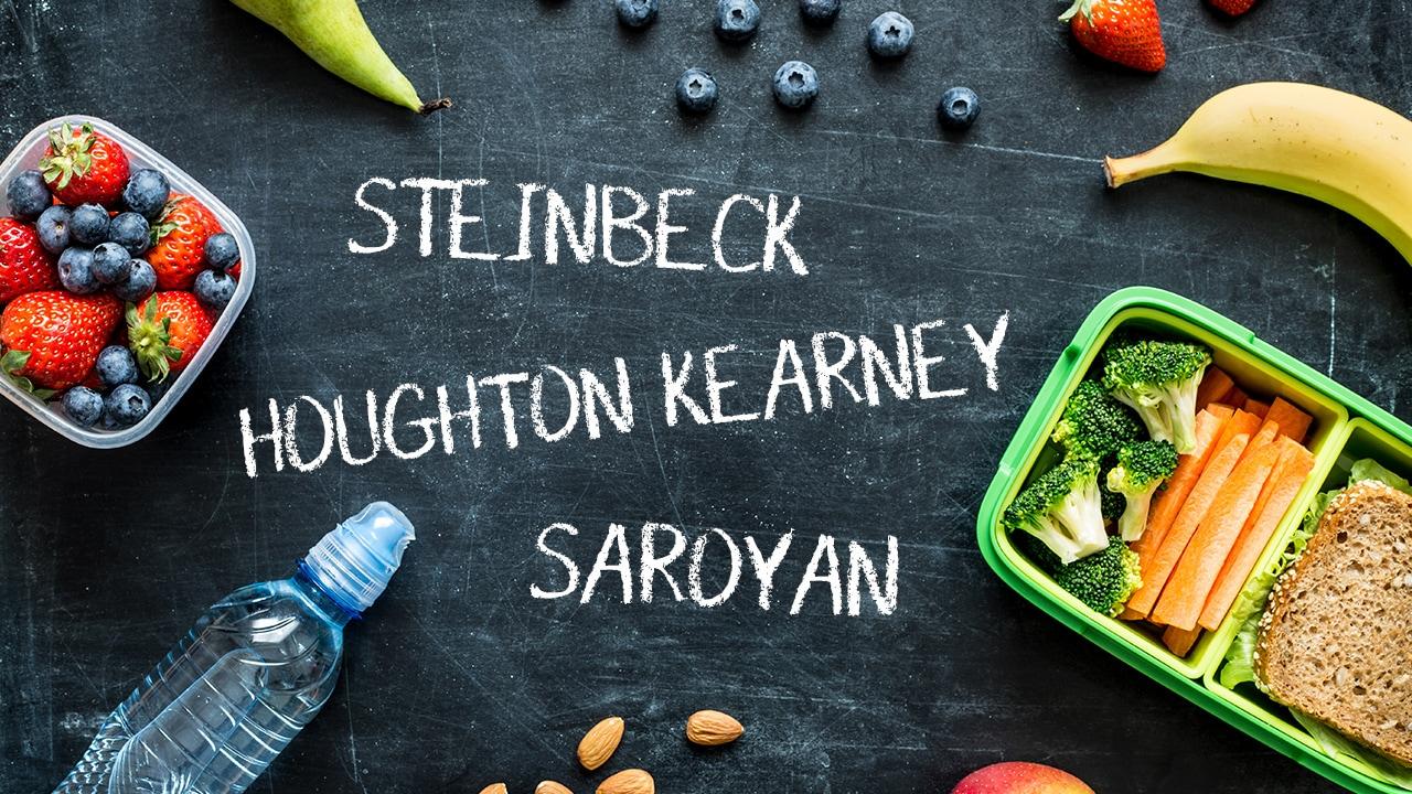 Photo Illustration of health school lunch against a chalkboard