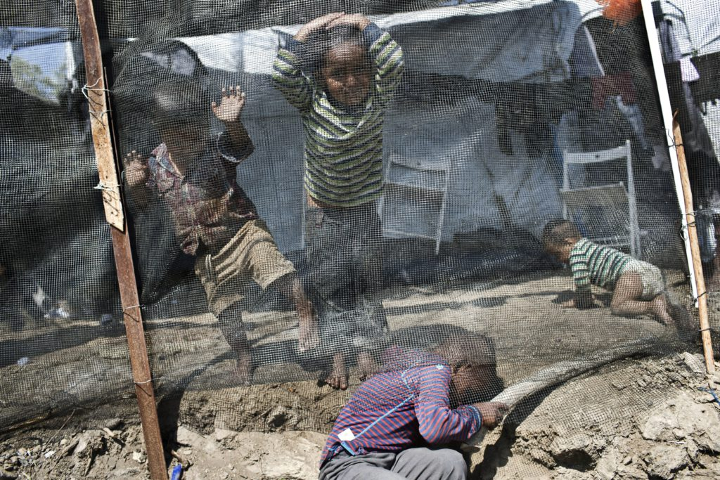 Photo of kids in a refugee camp in Greece