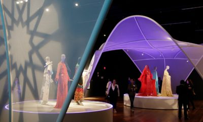 Photo of exhibit at de Young Museum showing off modern Muslim fashion