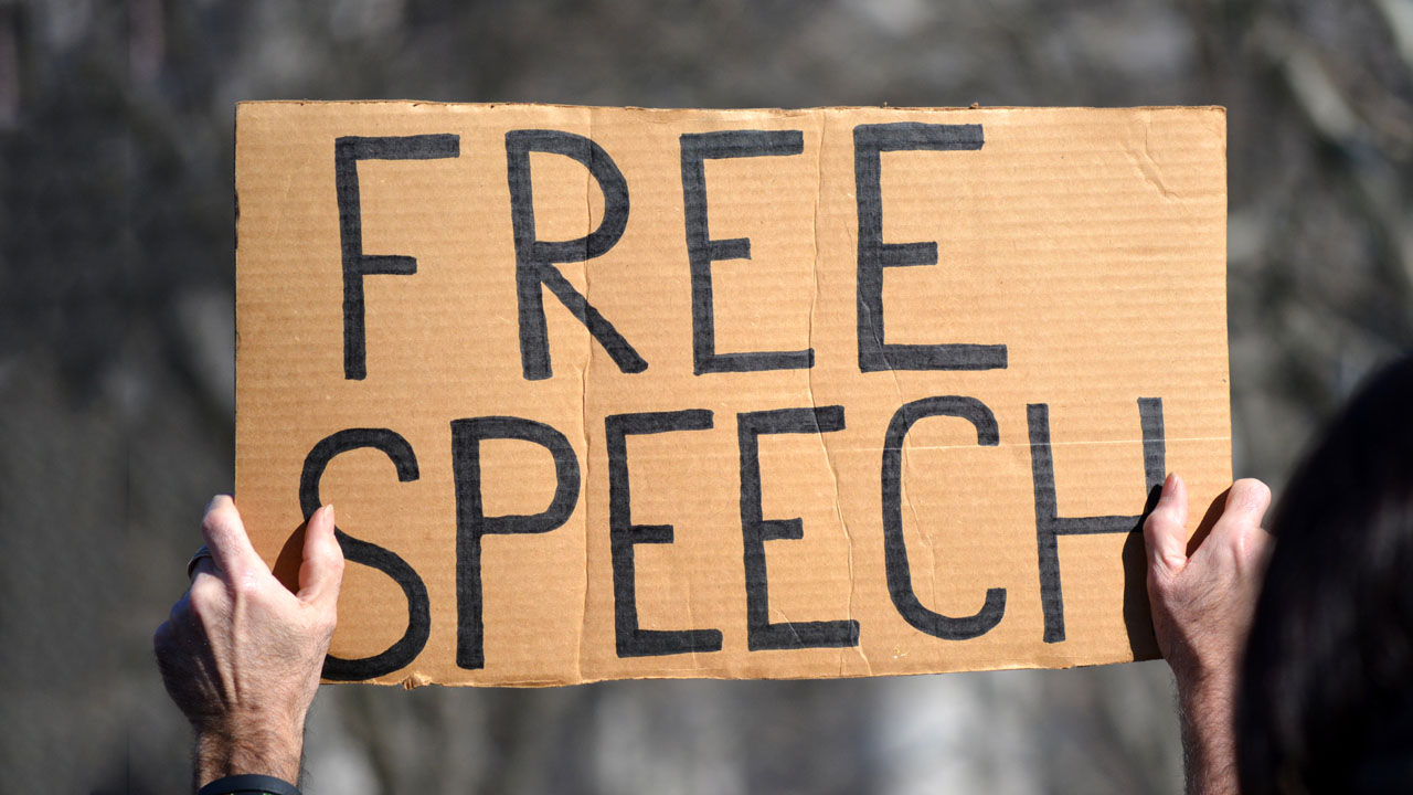 """Hands hold up a cardboard """"Free Speech"""" sign at protest rally"""