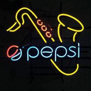 Neon Pepsi sign with Saxophone