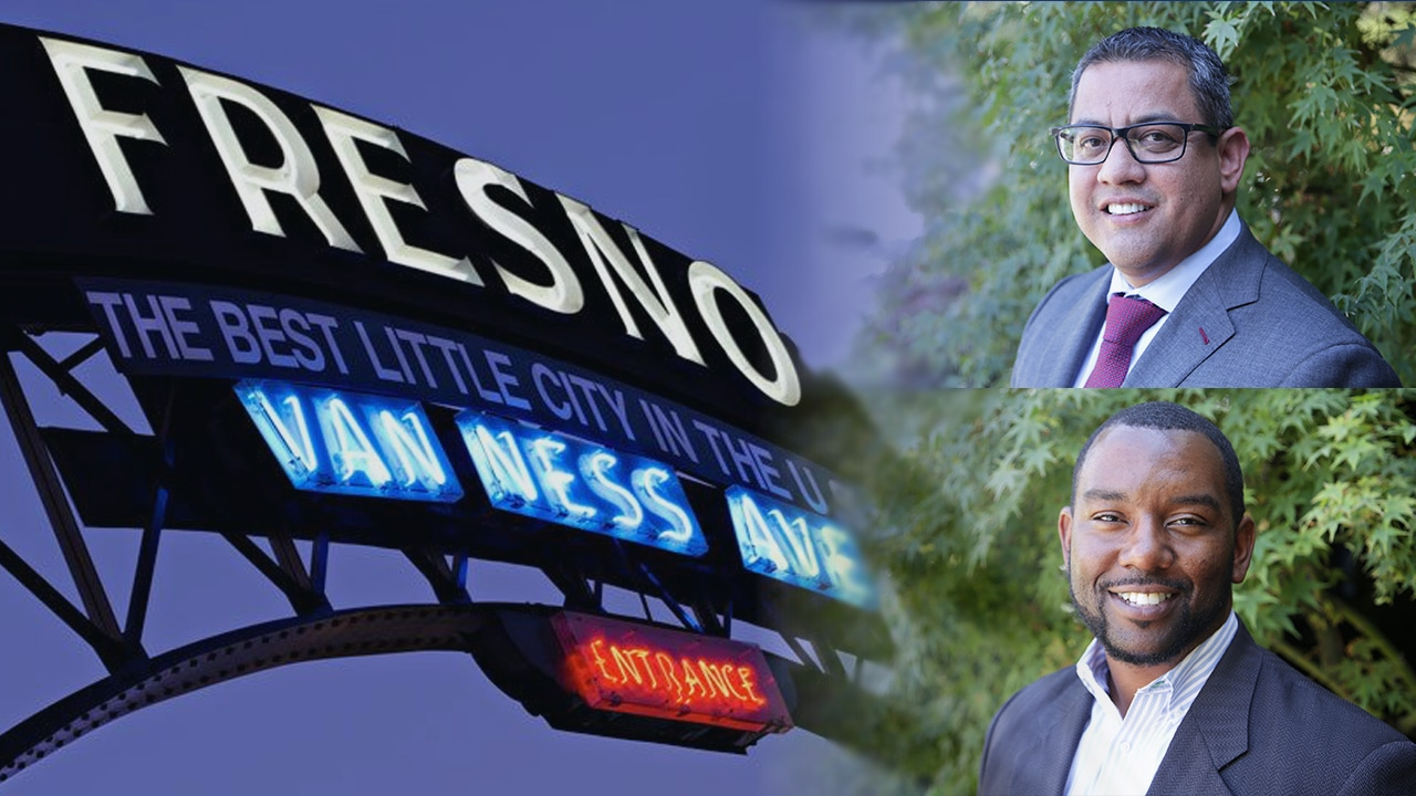 Photo Illustration with city of Fresno sign, and city council candidates Miguel Arias and Tate HIll