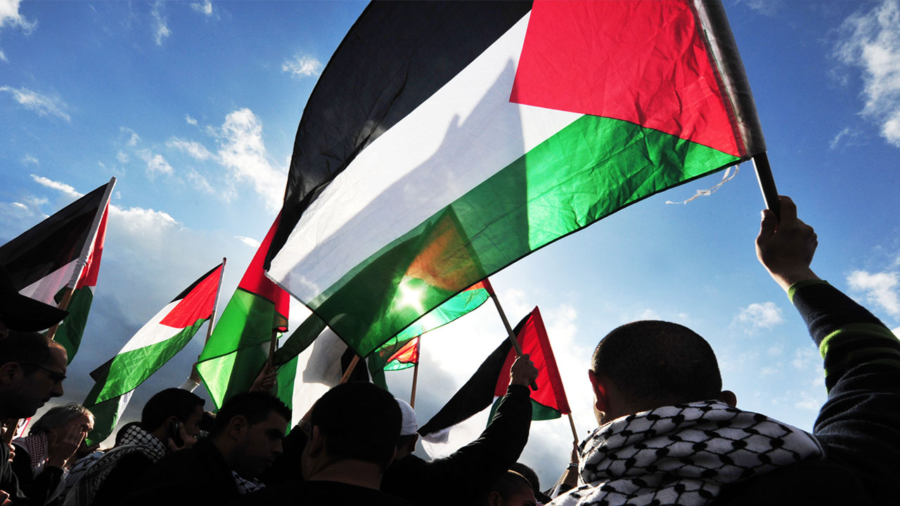 Palestinians march with flags