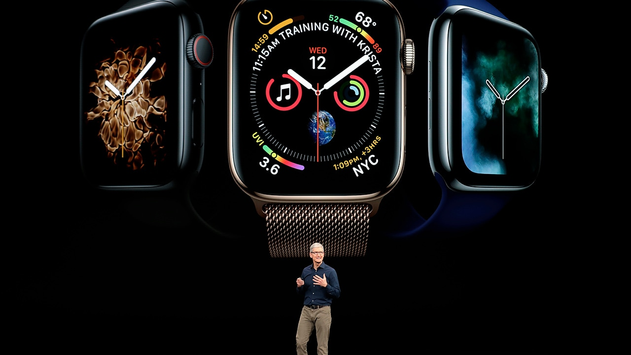 Apple CEO Tim Cook discussing the new Apple Watch 4