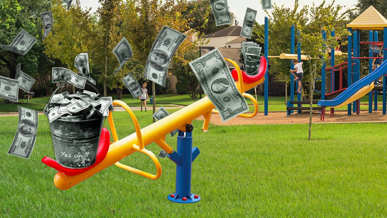 Illustration of the comparative fundraising by the Yes and No on the parks sales tax camps