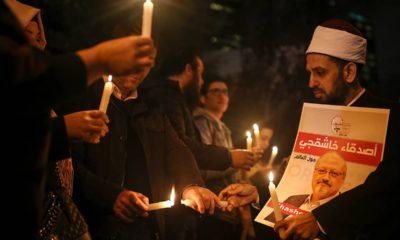 Photo of activists protesting the killing of Saudi journalist Jamal Khashoggi