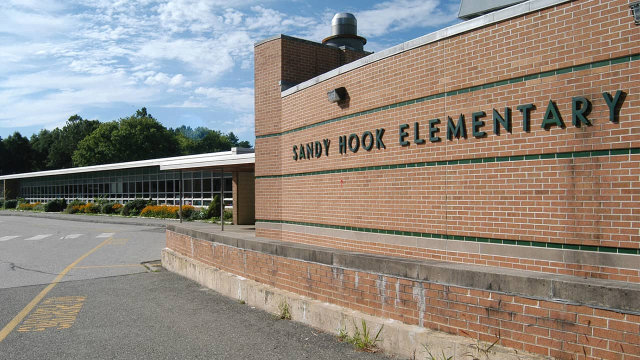 Photo of the exterior of Sandy Hook Elementary School
