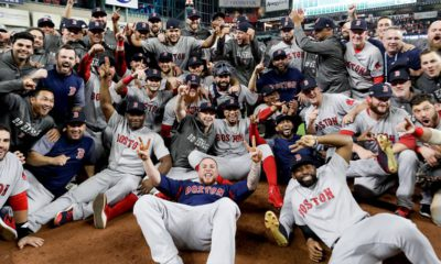 Photo of the Boston Red Sox after winning the ALCS
