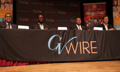 Fresno city council candidates appear on stage in a forum hosted by GV Wire