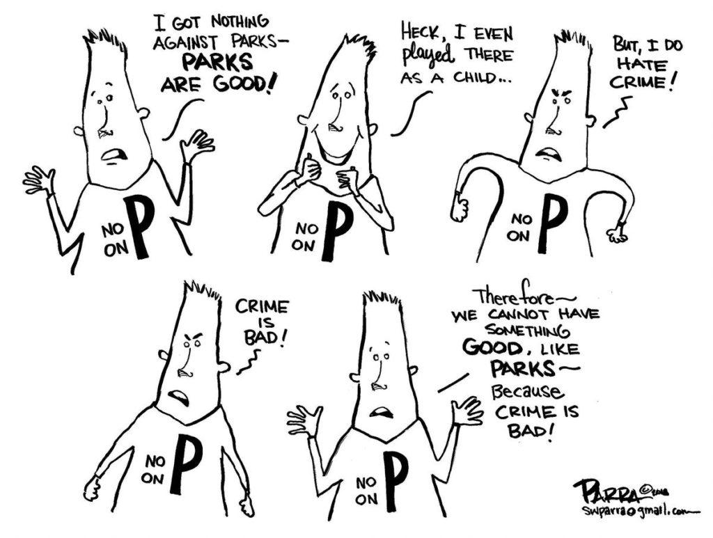 Measure P editorial cartoon by SW Parra