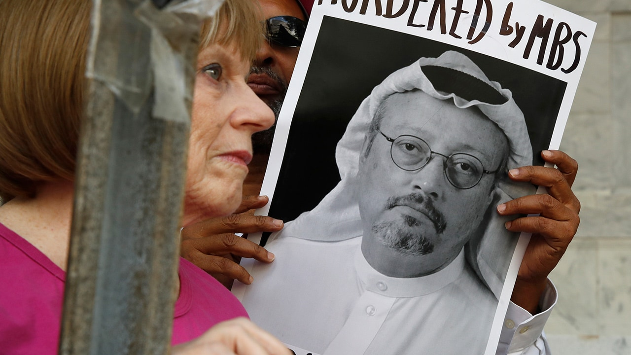 Photo of a poster of Saudi journalist Jamal Khashoggi