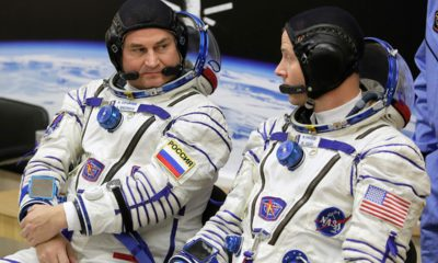 Photo of U.S. astronaut Nick Hague, right and Russian cosmonaut Alexey Ovchinin