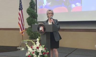 Clovis Unified SuperintendentEimear O'Farrell speaking at breakfast event