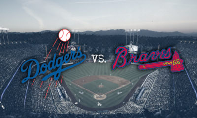 Photo of Dodgers Stadium and superimposed LA and Braves logos