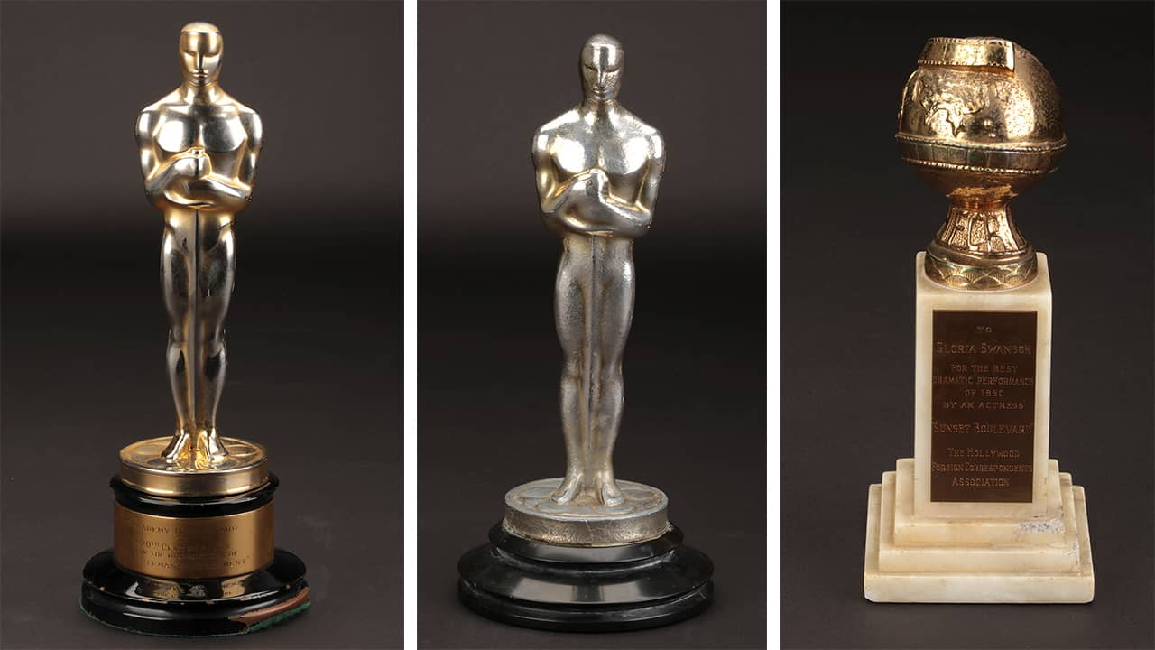 Photo of Oscar awards that are up for sale at auction